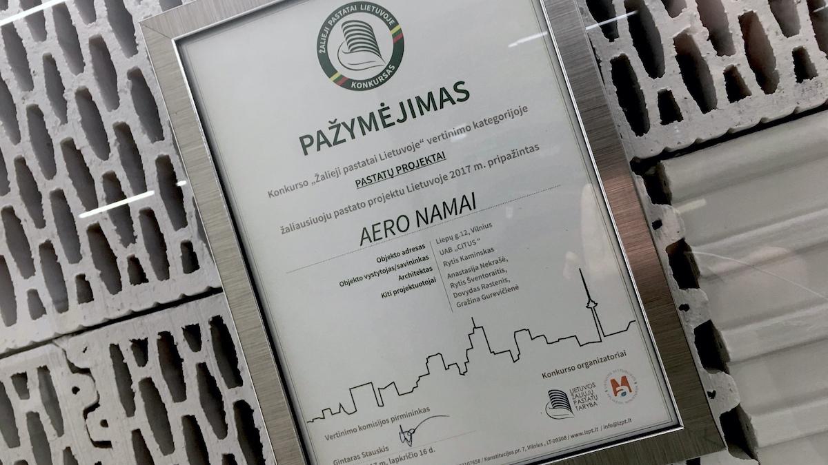 Aeronamai – žaliausias gyvenamasis pastatas Lietuvoje